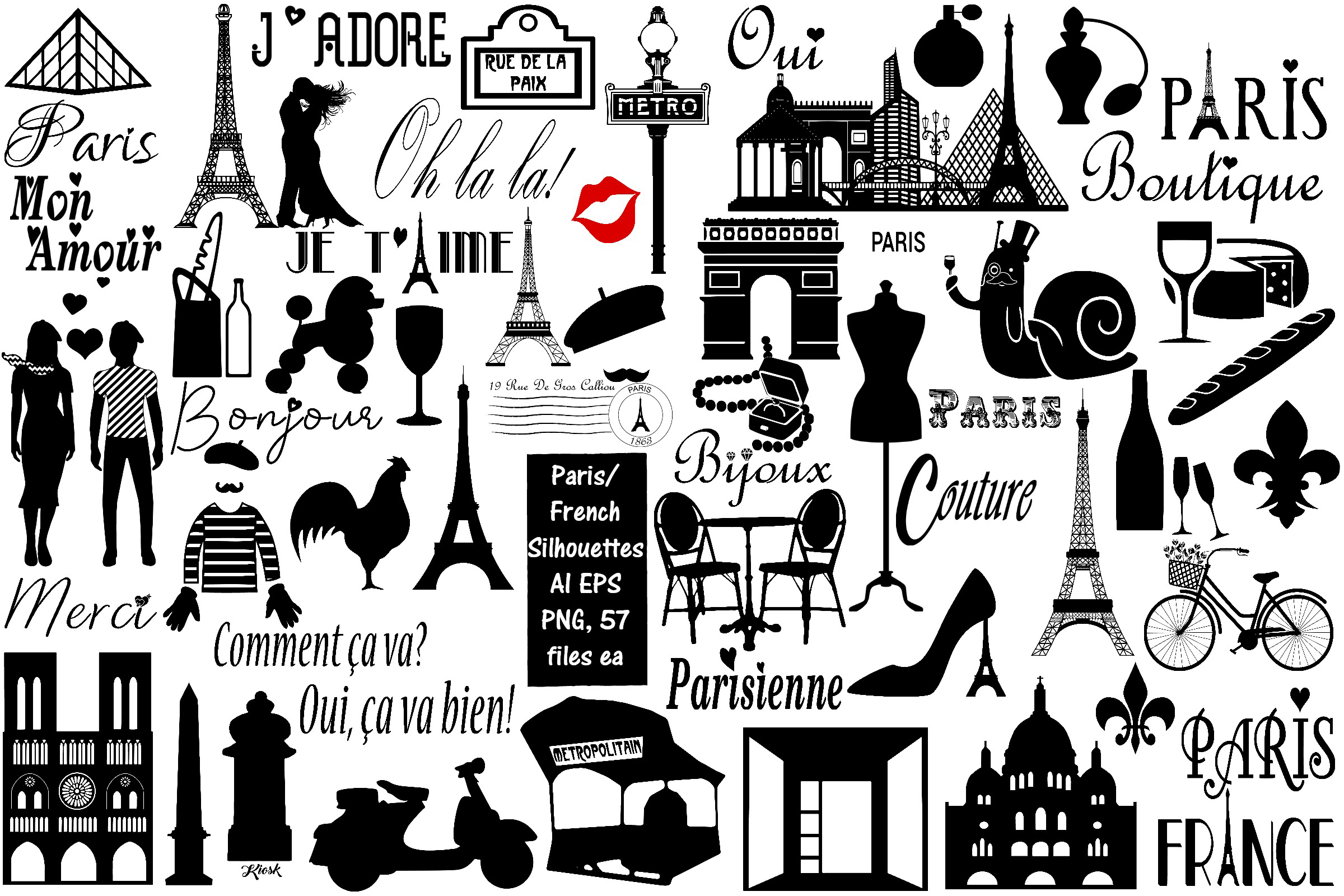 Paris and French Silhouettes AI EPS PNG, French Word Art.