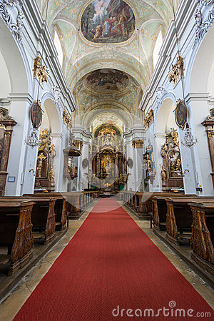 Interior Of An Old Church With Paintings And Decorations Stock.