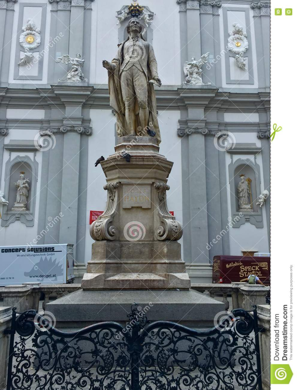 Statue Of Musician Franz Joseph Haydn In Front Of The Baroque.