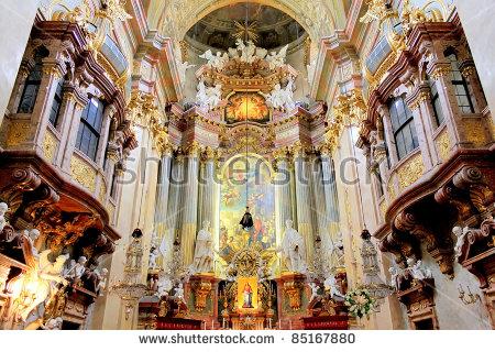 Beautiful Interior St Peters Church Peterskirche Stock Photo.