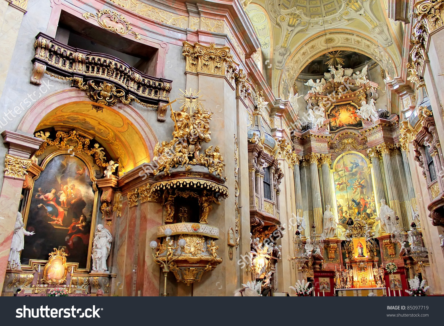 Beautiful Interior St Peters Church Peterskirche Stock Photo.