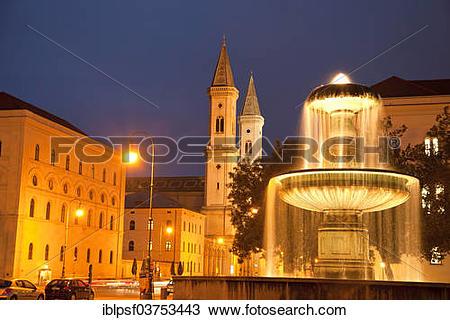 "Stock Photo of ""Illuminated fountain of the University and the."