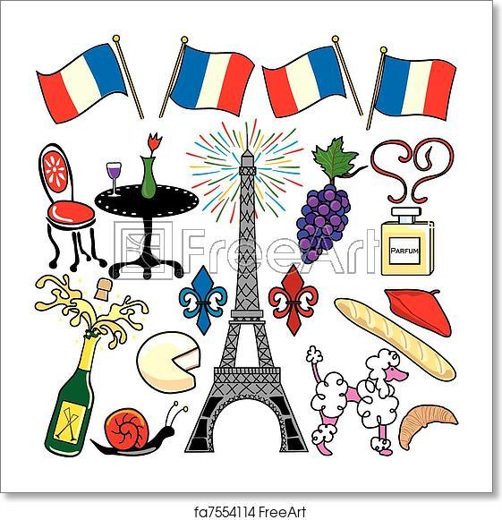 Free art print of Paris France clipart elements icons.