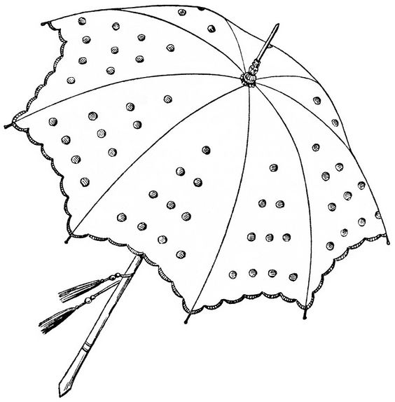 vintage parasol clipart, antique clip art umbrella, parasol sketch.