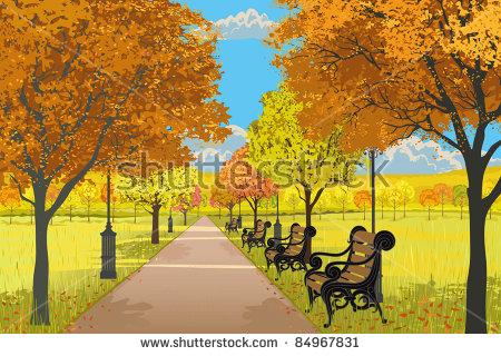 Autumn In City Park Stock Vector Illustration 84967831 : Shutterstock.