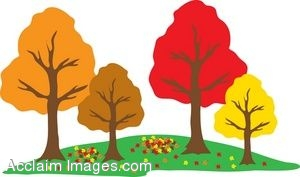 Clip Art of Autumn Trees in a Park.