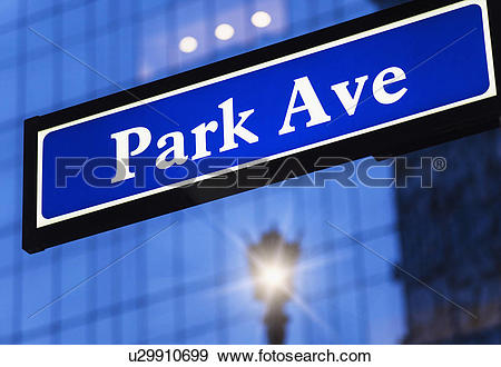 Stock Photograph of Detail of Park Avenue sign u29910699.