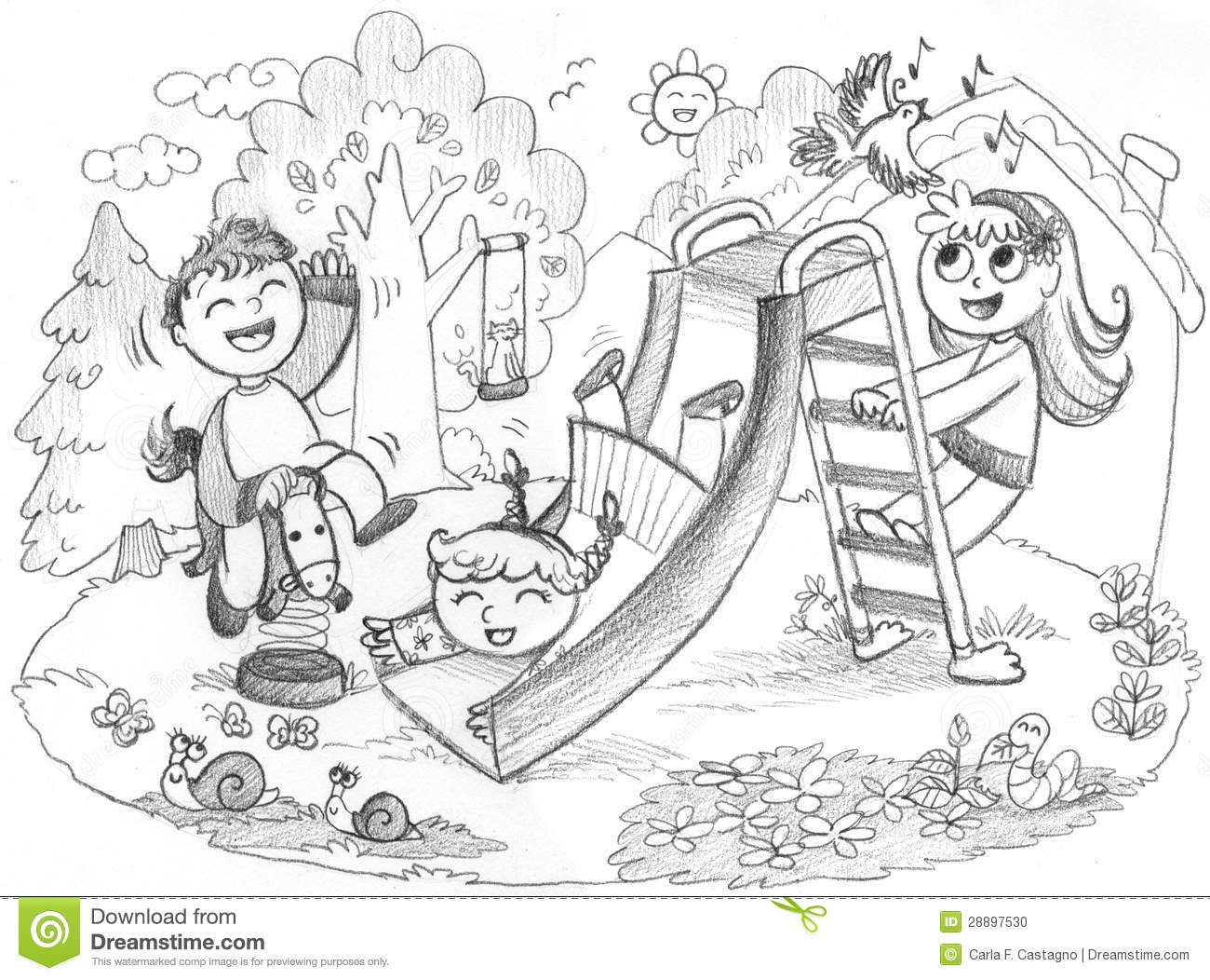 Children Playing In The Park Clipart Black And White.