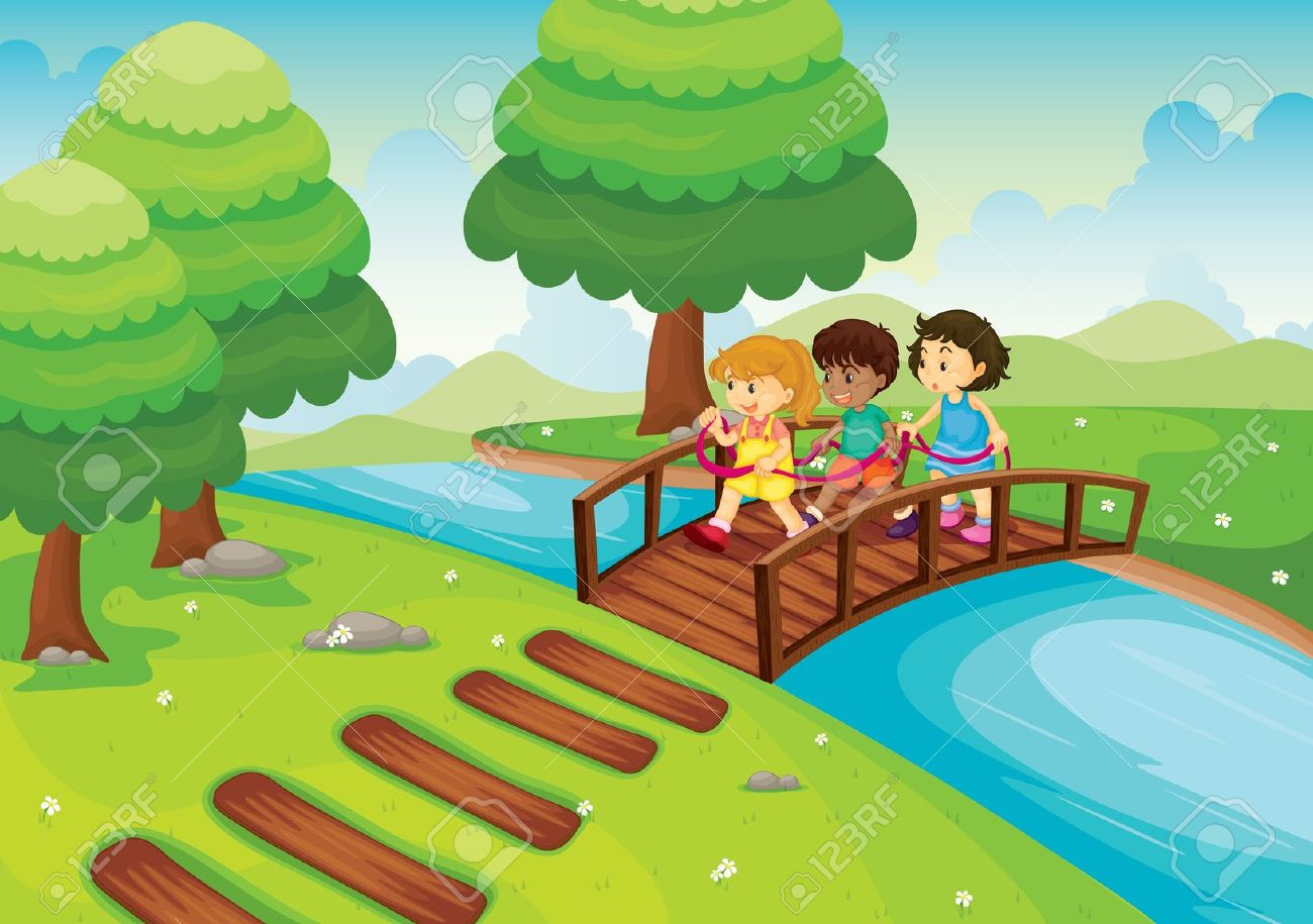 Detailed Illustration Of A Kids Crossing Bridge Royalty Free.