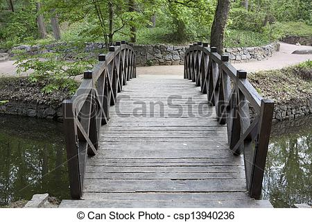 Drawings of Wooden bridge over a small river in Sophia park in.