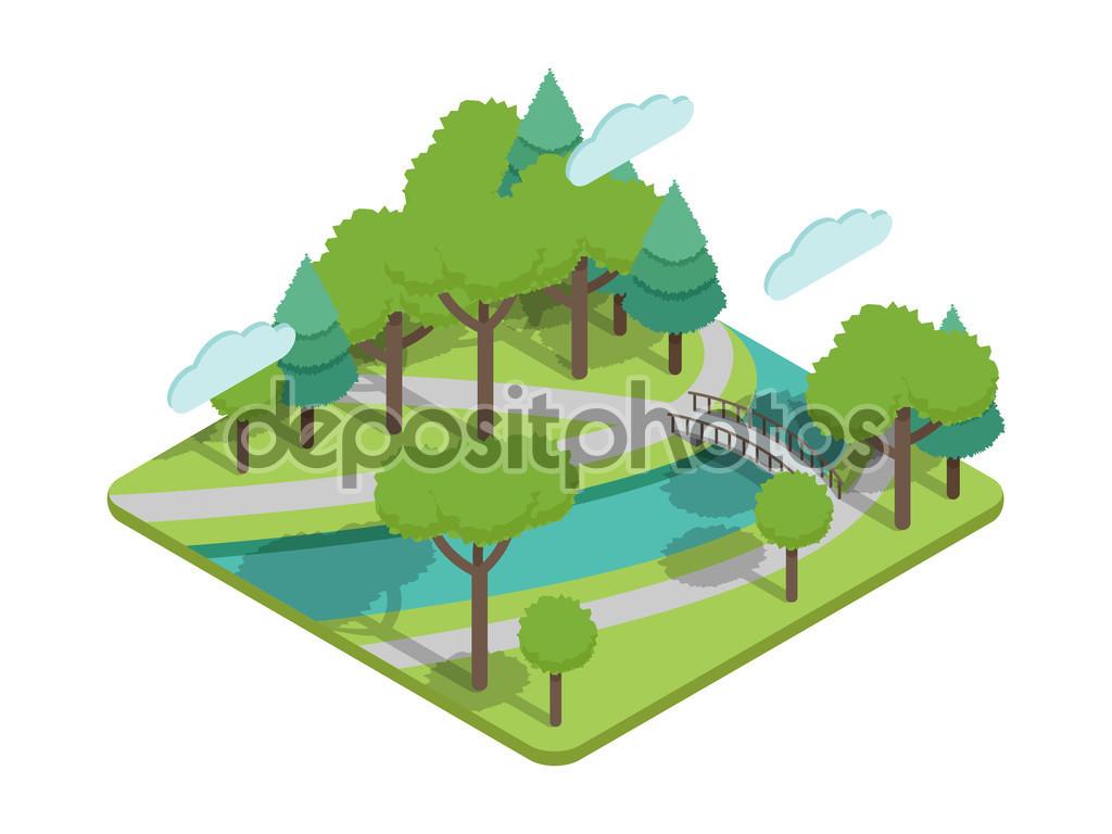 Isometric park bridge vector illustartion with trees, river.