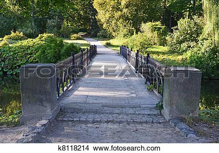 Stock Photo of Old vintage park bridge in Alexandria, Ukraine.
