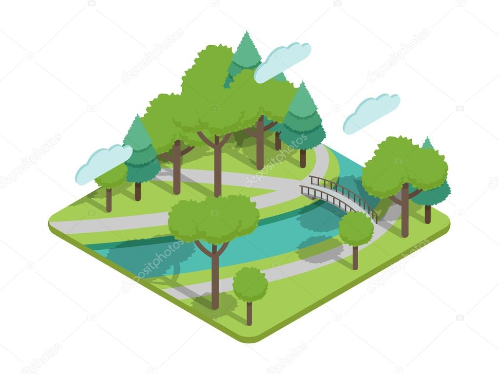 Isometric park bridge vector illustartion with trees, river.