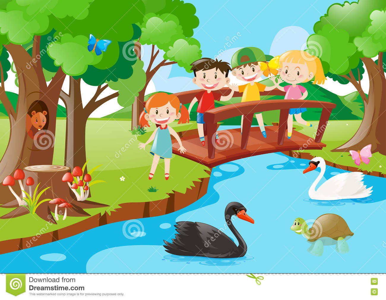 Kids On The Bridge And Animals In The Park Stock Vector.