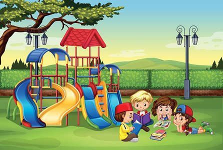 Children reading park Clipart Image.