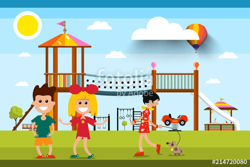 Kids with Playground and Woman with Dog on Background. Sunny.