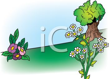 Royalty Free Clip Art Image: Cartoon Landscape of a Shade Tree and.