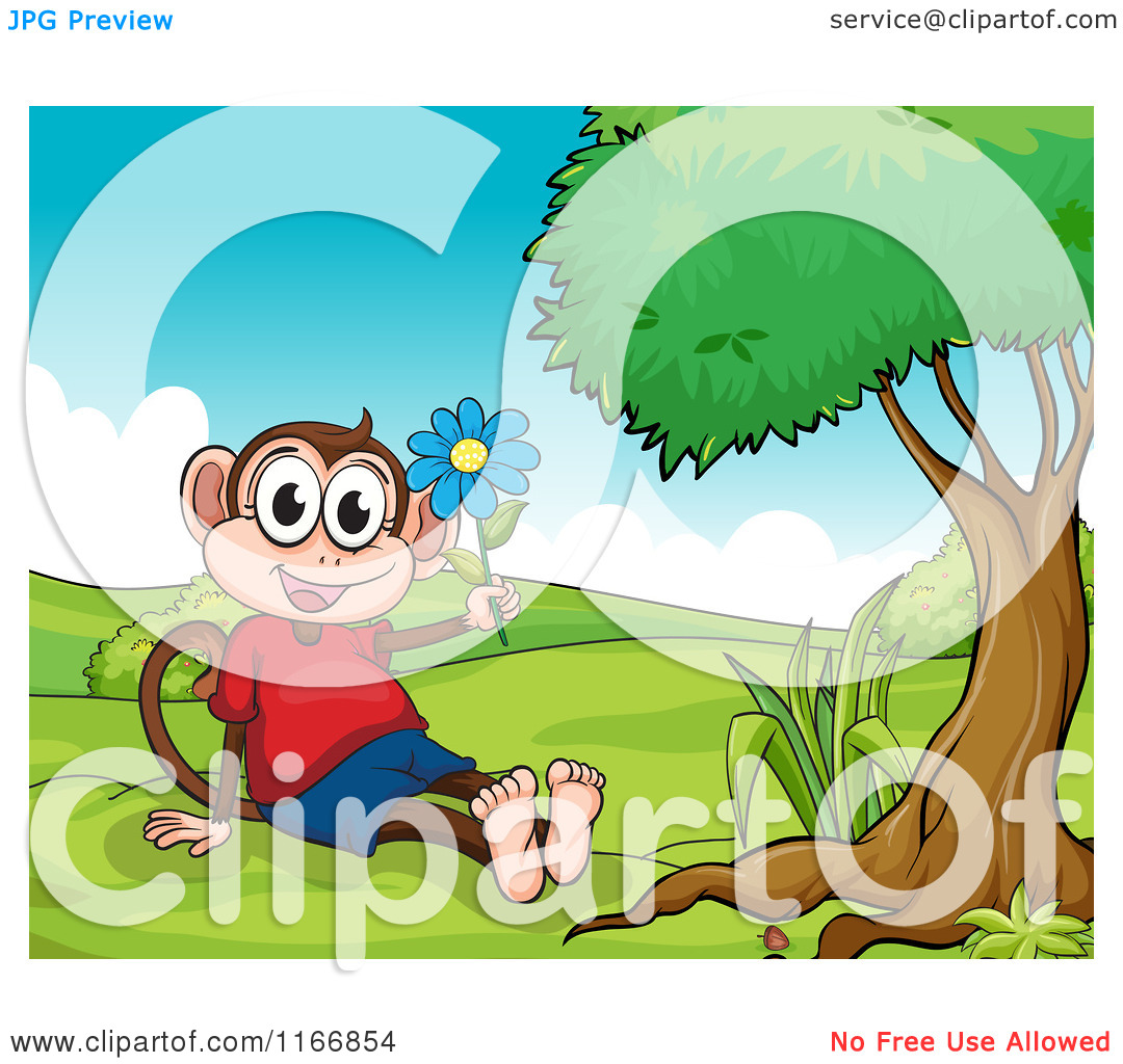 Cartoon of a Monkey Girl with a Flower in a Park.