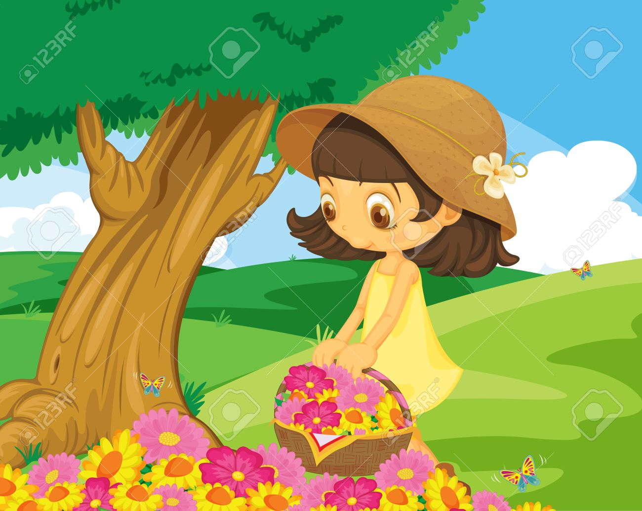Cute Girl Picking Flowers In The Park Royalty Free Cliparts.