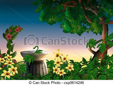 Stock Illustration of Park and flowers.