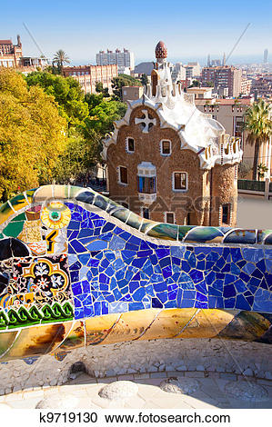 Stock Photography of Barcelona Park Guell of Gaudi modernism.
