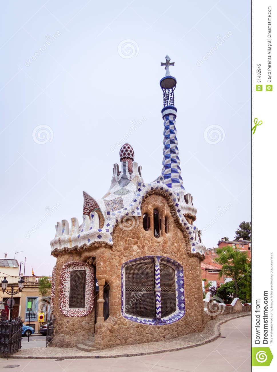Entrance Pavilion Of The Park Guell In Barcelona, Spain Royalty.