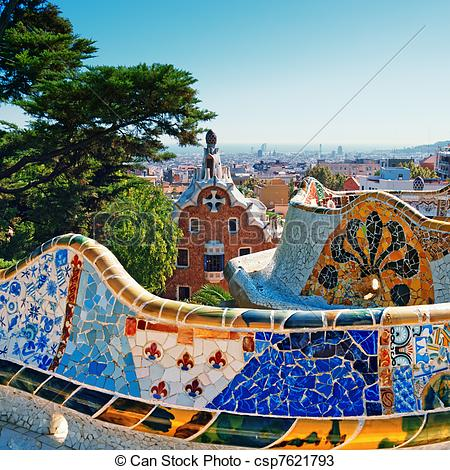 Stock Photos of Park Guell, Barcelona.