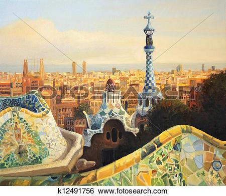 Stock Illustration of Barcelona Park Guell k12491756.
