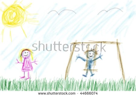 Childs Drawing Boy Girl Playing Outside Stock Illustration.