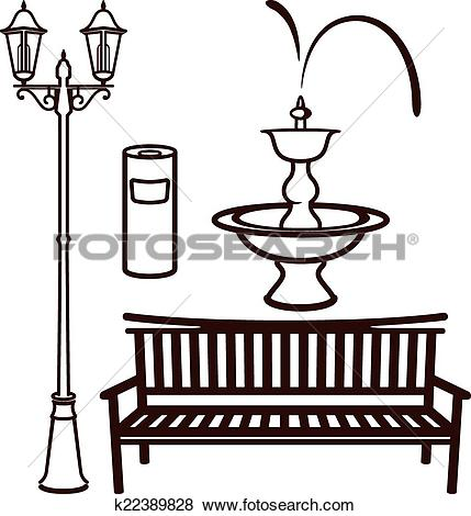 Clip Art of park settings k22389828.