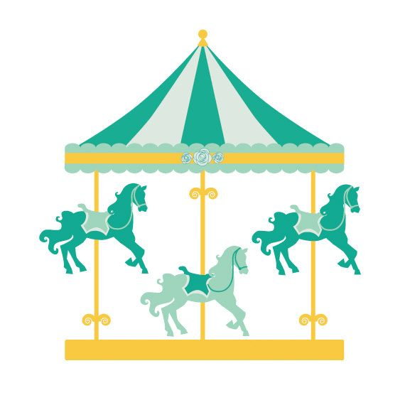 animal ride carousel in an amusement park clipart #4