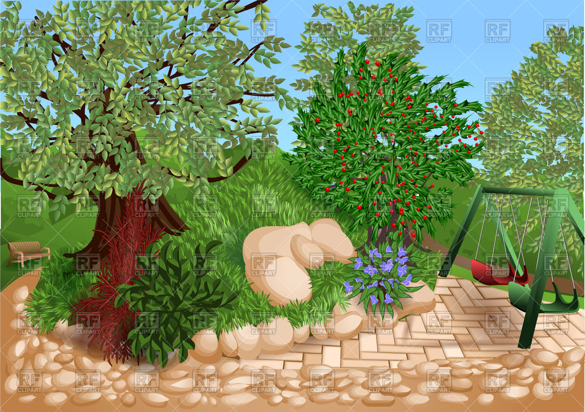 Park with trees and children playground Vector Image #84945.