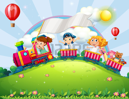 Children Riding On A Train In The Park Royalty Free Cliparts.