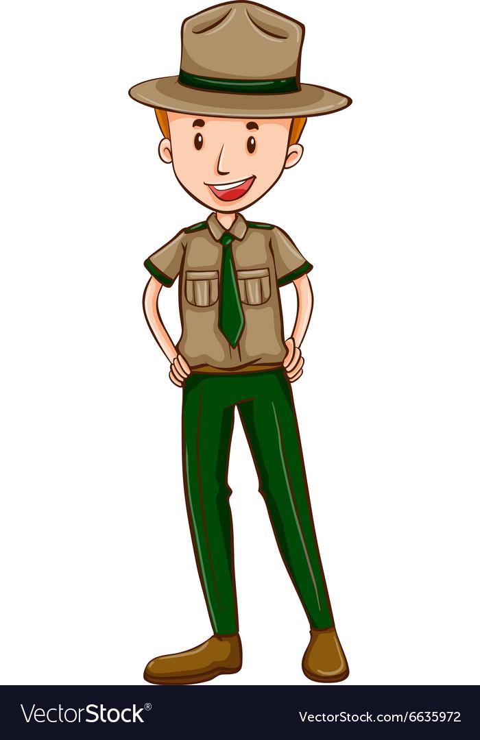 Park ranger in brown uniform.