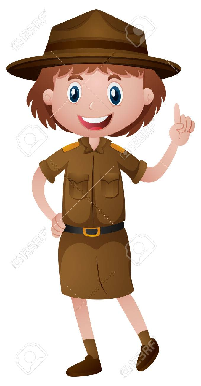 Female park ranger in brown uniform » Clipart Station.