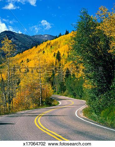 Stock Photo of USA, Colorado, Rocky Mountain National Park, road.