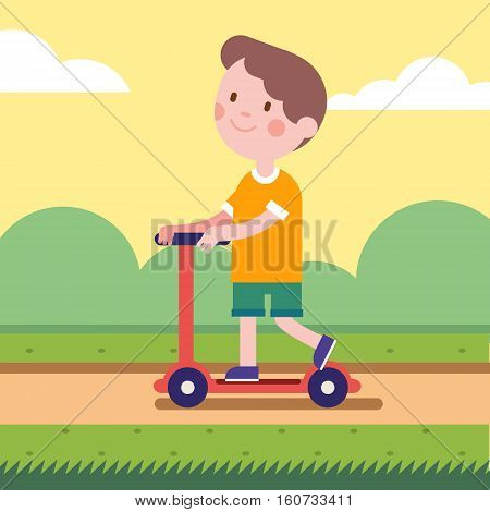 Boy riding a kick scooter on a park road. Smiling kid character.