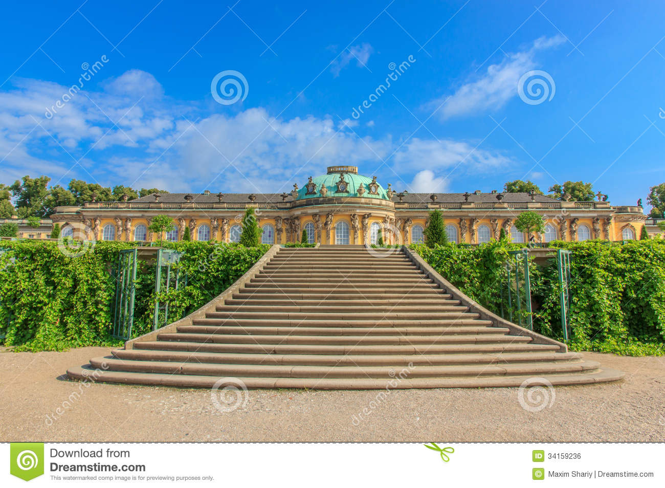Palace And Park Sanssouci, Potsdam, Germany Royalty Free Stock.