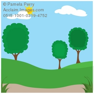 Clip Art Illustration of a Park in Summer With Trees.