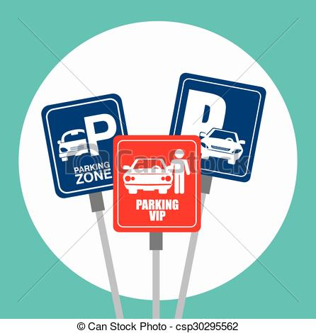 Clip Art Vector of Parking or park zone design, vector.