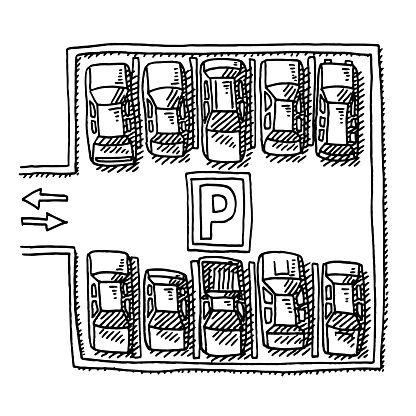 Parking Lot Full Of Cars View From Above Drawing.
