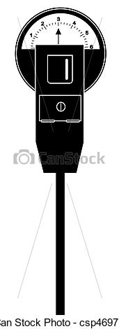 Stock Illustrations of parking meter with three hours time.