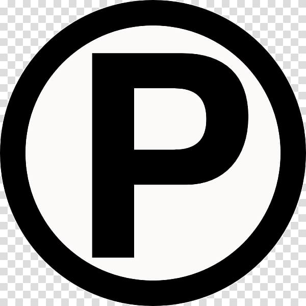 Black and white letter P illustration, Car Park Disabled.