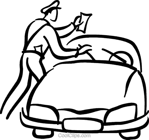 police officer giving a parking ticket Royalty Free Vector.