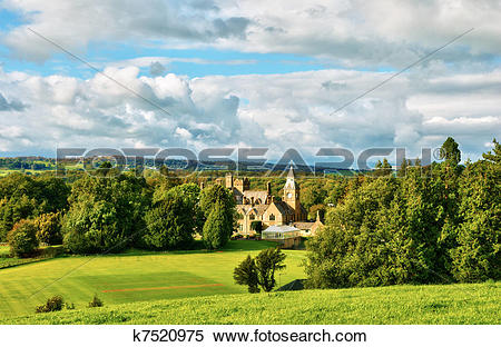 Stock Image of Large country house set in parkland k7520975.