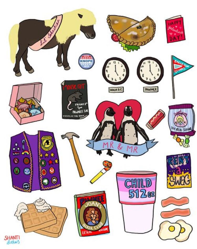 Iconic symbols from Parks and Rec.