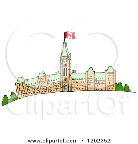 Cartoon of Parliament Buildings with a Canadian Flag.