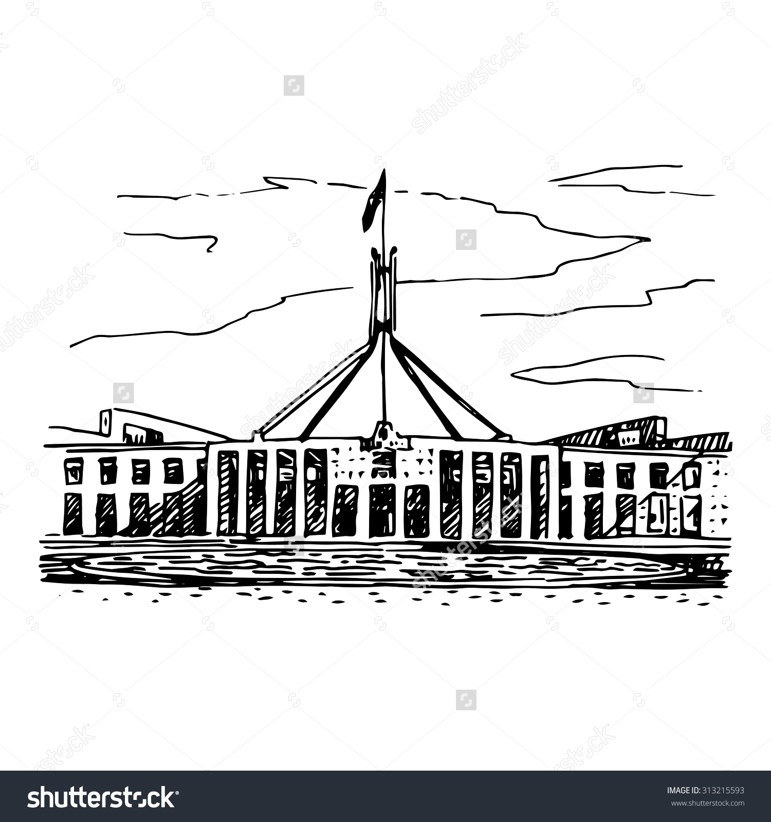 Parliament House Canberra Act Australia Vector Stock Vector.
