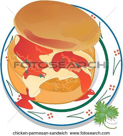Clip Art of Chicken Parmesan Sandwich chicken.