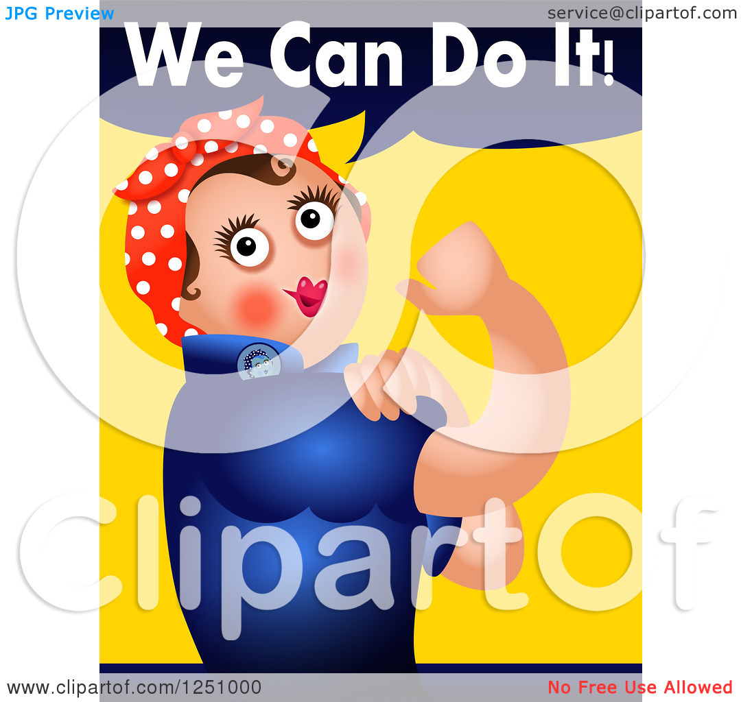 Clipart of a Rosie the Riveter We Can Do It Parody.